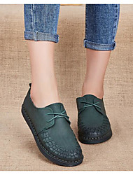 povoljno -Žene Cipele Koža Mekana koža Proljeće Jesen Udobne cipele Oksfordice Ravna potpetica za Kauzalni Crvena Zelen Plava