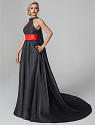 cheap -A-Line / Princess Halter Neck Court Train Satin Celebrity Style Cocktail Party / Formal Evening Dress with Sash / Ribbon / Tassel / Pleats by TS Couture®