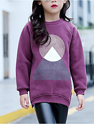 cheap -Girls' Solid Blouse, Cotton Fall Long Sleeves Purple