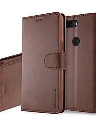 Недорогие -Кейс для Назначение OnePlus OnePlus 5T 5 Бумажник для карт Кошелек со стендом Флип Чехол Однотонный Твердый Кожа PU для One Plus 5
