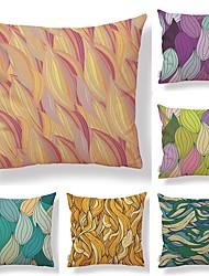 baratos -6 pçs Téxtil Algodão / Linho Fronha Cobertura de Almofada, Árvores / Folhas Estampa Geométrica Estampado Estilo Artístico Tropical