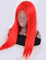 baratos -Cabelo Remy Frente de Malha Peruca Cabelo Brasileiro Liso Peruca 130% Com Baby Hair / Riscas Naturais / Com nós descorados Vermelho Mulheres Curto / Longo Perucas de Cabelo Natural