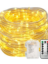 cheap -10m String Lights Light Sets 100 LEDs Warm White White Color-changing Waterproof Decorative Batteries Powered 1set