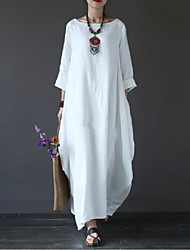 cheap -Women's Plus Size Holiday Cotton Loose Swing Dress - Solid Colored White Maxi