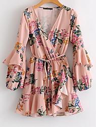 cheap -Women's Boho Chiffon Dress - Floral, Print