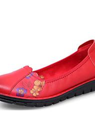 povoljno -Žene Cipele Koža Proljeće Jesen Udobne cipele Ravne cipele Ravna potpetica za Kauzalni Crn Crvena Lila-roza