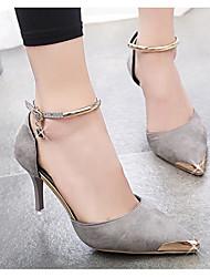 povoljno -Žene Cipele Nubuk koža Proljeće Jesen Obične salonke Udobne cipele Cipele na petu Stiletto potpetica za Kauzalni Crn Sive boje Crvena
