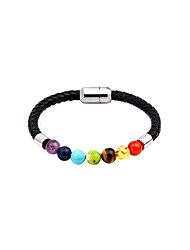 cheap -Women's Leather Strand Bracelet - Fashion Circle Gold Black Rainbow Bracelet For Daily Date