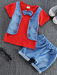 cheap -Baby Boys' Solid Colored / Color Block Patchwork Long Sleeve Clothing Set / Cute / Toddler