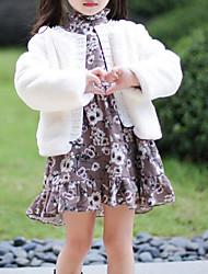 cheap -Girls' Solid Jacket & Coat, PU Cotton Brown White Blushing Pink