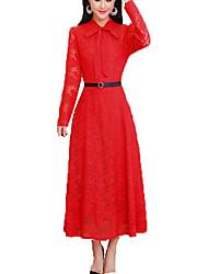 baratos -Mulheres Tamanhos Grandes Moda de Rua Algodão Delgado Túnicas Vestido Sólido Colarinho de Camisa Médio / Verão