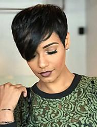 cheap -Human Hair Capless Wigs Human Hair Wavy Pixie Cut Natural Hairline Nature Black Machine Made Wig Women's