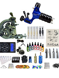 cheap -Tattoo Machine Starter Kit 1 rotary machine liner & shader 1 carved machine liner & shader Professional Level LCD power supply 1 x