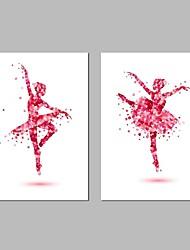 Недорогие -Hang-роспись маслом Ручная роспись - Абстракция Люди Modern холст