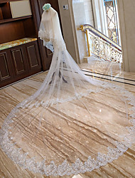 cheap -Two-tier Bridal Wedding Wedding Veil Chapel Veils Cathedral Veils 53 Scattered Bead Floral Motif Style Lace Tulle