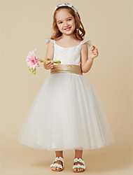 cheap -A-Line Knee Length Flower Girl Dress - Lace Tulle Sleeveless Straps with Sash / Ribbon by LAN TING BRIDE®