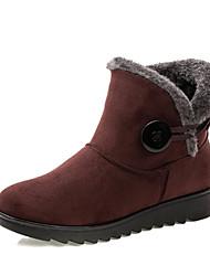 Недорогие -Жен. Ткань Зима Зимние сапоги Ботинки На плоской подошве Ботинки Черный / Коричневый / Винный / EU36