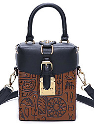 cheap -Women's Bags PU Shoulder Bag Buttons for Casual Black / Red / Brown