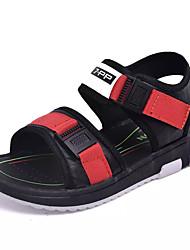 baratos -Para Meninos Sapatos Couro Verão Conforto Sandálias Velcro para Bébé Preto / Vermelho / Preto / verde
