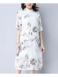 povoljno -Žene Kinezerije Tunika Haljina Cvjetni print Do koljena