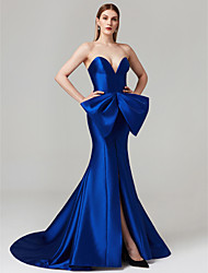 cheap -Mermaid / Trumpet Sweetheart Court Train Satin Prom / Formal Evening Dress with Bow(s) Split Front by TS Couture®