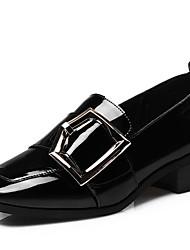 Недорогие -Жен. Обувь Полиуретан Весна / Осень Удобная обувь Мокасины и Свитер На толстом каблуке Квадратный носок Пряжки Черный / Зеленый