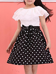 abordables -Enfants Fille Doux Points Polka Noeud / A Volants Sans Manches Robe