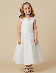 cheap -Princess Knee Length Flower Girl Dress - Cotton Sleeveless Scoop Neck with Pleats by LAN TING BRIDE®