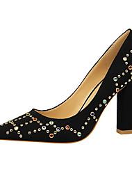 preiswerte -Damen Schuhe PU Samt Sommer Herbst Pumps Komfort High Heels Blockabsatz Geschlossene Spitze Spitze Zehe Strass Niete für Büro & Karriere