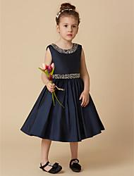 cheap -A-Line Knee Length Flower Girl Dress - Taffeta Sleeveless Jewel Neck with Beading / Crystal Brooch by LAN TING BRIDE®