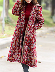 cheap -Women's Going out Basic Cotton Loose Coat - Floral / Fall / Winter