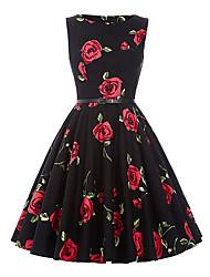 povoljno -Žene Vintage Swing kroj Haljina Cvjetni print Do koljena