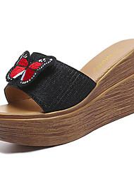 Недорогие -Жен. Обувь Полиуретан Весна Лето Удобная обувь Сандалии Туфли на танкетке Круглый носок для Черный Серебряный