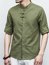 cheap -Men's Linen Shirt - Solid Colored Standing Collar