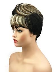 abordables -Pelucas sintéticas Recto Corte a capas 130% Densidad del pelo humano Pelo sintético Peluca afroamericana Negro Peluca Mujer Corta Hecho a Máquina / Sí