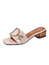cheap -Women's Shoes PU Summer Comfort Slippers & Flip-Flops Low Heel Round Toe Rhinestone for White Beige Pink