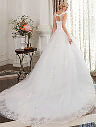 cheap -Ball Gown Scoop Neck Cathedral Train Satin Lace Over Tulle Custom Wedding Dresses with Lace by LAN TING BRIDE®