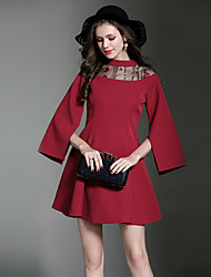 cheap -SHIHUATANG Women's Vintage Street chic Flare Sleeve A Line Dress - Solid Colored, Embroidered