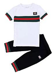 billige -Unisex Daglig Sport Trykt mønster Tøjsæt, Bomuld Sommer Kortærmet Aktiv Hvid Rød