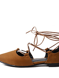abordables -Femme Chaussures Laine synthétique Printemps / Eté Confort Ballerines Talon Plat Bout pointu Ruban Noir / Jaune / Rouge