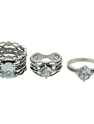 cheap -Women's Rhinestone Alloy Ring Set - 3pcs Circle Basic / Fashion Silver Ring For Daily / Date