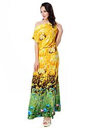 preiswerte -Damen Street Schick T Shirt Kleid Blumen Maxi