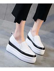 abordables -Femme Chaussures Cuir Printemps / Automne Confort Mocassins et Chaussons+D6148 Creepers Noir / Beige