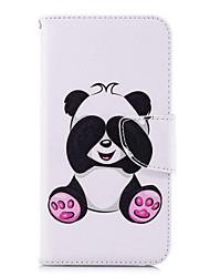 baratos -Capinha Para Huawei P20 lite P20 Porta-Cartão Carteira Com Suporte Flip Estampada Capa Proteção Completa Panda Rígida PU Leather para
