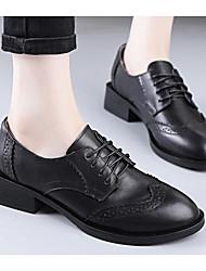 povoljno -Žene Cipele Koža Proljeće Jesen Udobne cipele Oksfordice Kockasta potpetica za Kauzalni Crn