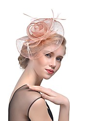 cheap -Flax Feathers Fascinators Hats Headpiece with Feather 1pc Wedding Special Occasion Headpiece