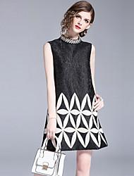 baratos -Mulheres Vintage Moda de Rua Reto Vestido - Bordado, Geométrica Mini