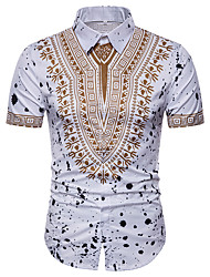 cheap -Men's Plus Size Shirt - Tribal Print Spread Collar / Short Sleeve