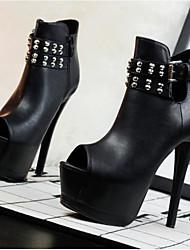 お買い得  -女性用 靴 PUレザー 春 夏 ベーシックサンダル コンフォートシューズ サンダル プラットフォーム のために カジュアル ブラック