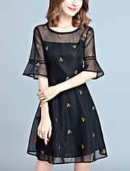 cheap -Women's Street chic Flare Sleeve A Line Little Black Dress - Floral, Mesh Embroidered